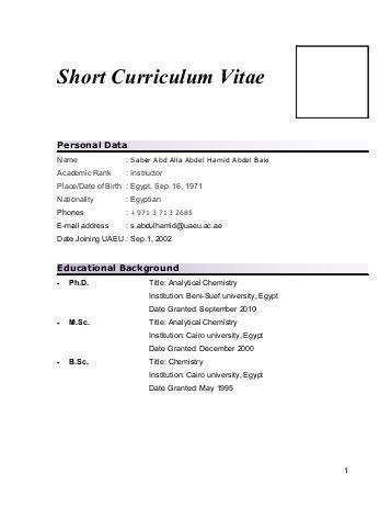 Kurzer Lebenslauf by Curriculum Vitae And Summary Of Scientific
