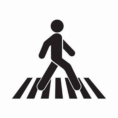 Walk Crosswalk Icon Pedestrian Vector Crossing Clip