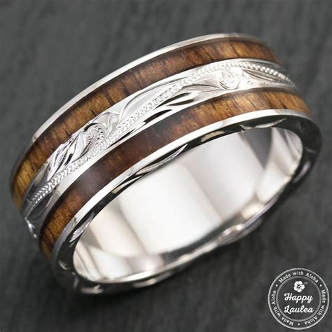 14k white gold hand engraved hawaiian jewelry ring with