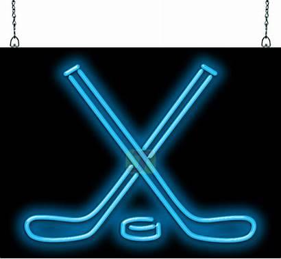 Neon Sports Hockey Signs Sticks Cave Bar