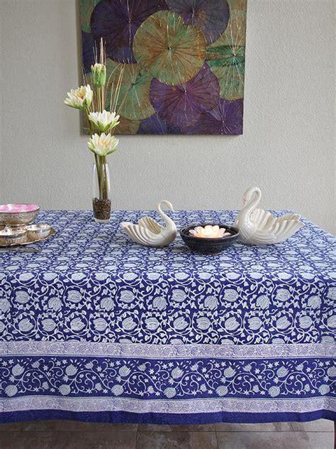 blue tablecloth white floral blue saffron marigold