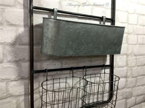 Vintage Industrial Style Metal Wall Shelf Unit Rack Hooks