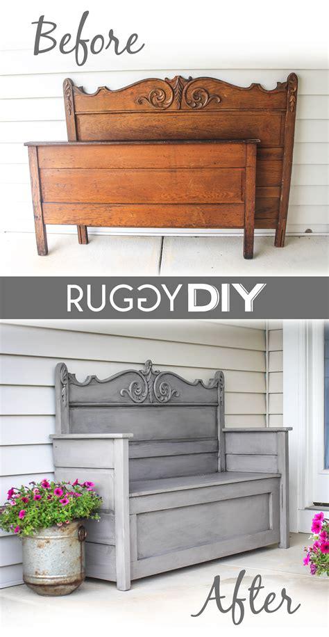 repurposed headboard bench ruggy diy