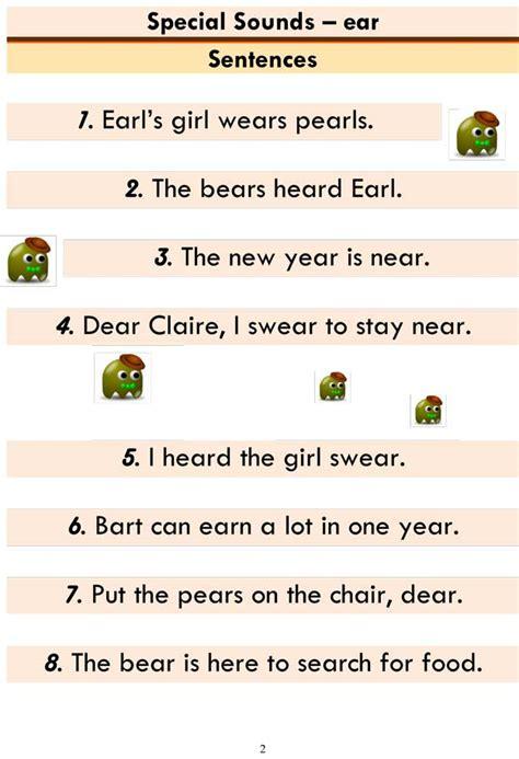 advanced phonics ear word list  sentences