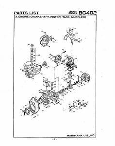 Maruyama Parts Bc402 Engine Crankshaft Piston Tank Muffler
