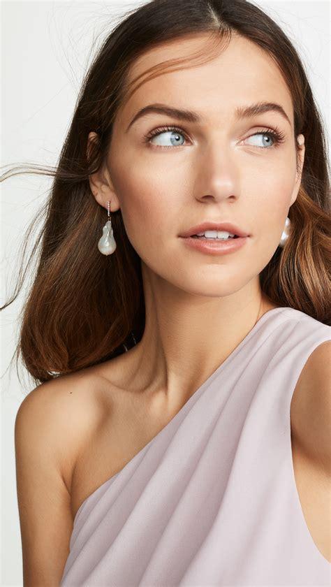 gold baroque pearl  diamond earrings