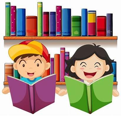 Reading Library Boy Cartoon Vector Children Illustration
