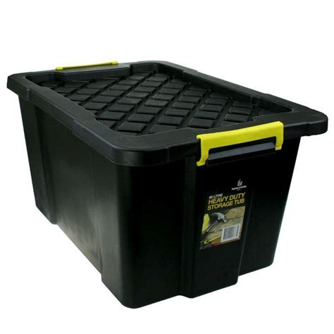 plastic storage tub 3 x 60l black heavy duty large plastic storage tubs crate