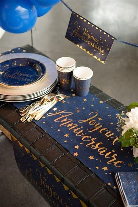 chemin de table joyeux anniversaire bleu marine