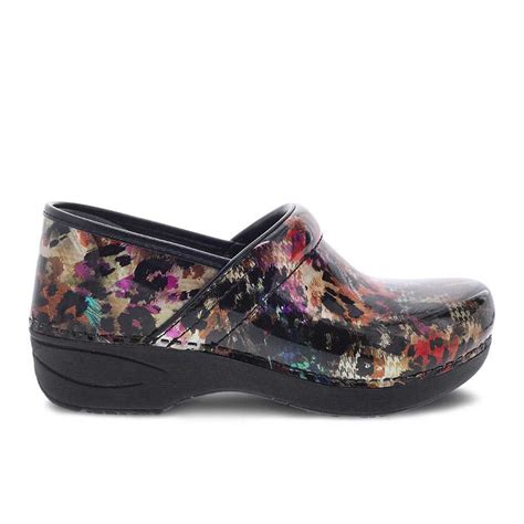 dansko womens xp  clog multi leopard patent lauries