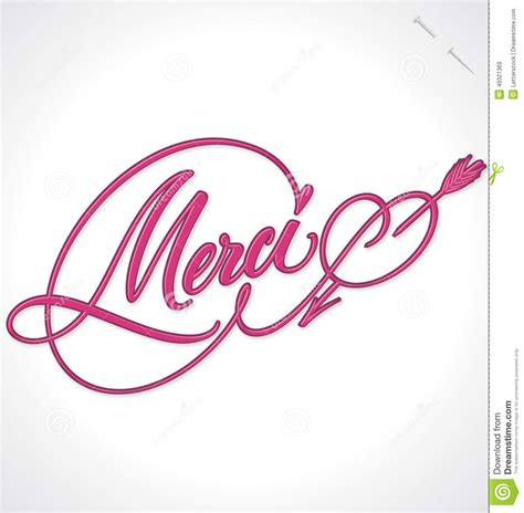 merci hand lettering vector stock vector image