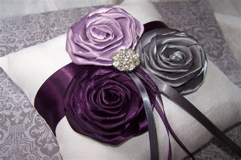 Ring Bearer Pillow White Or Ivory Dark Plum Lilac