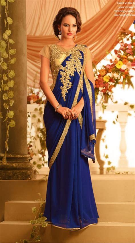 exclusive blue designer indowestern saree gown br