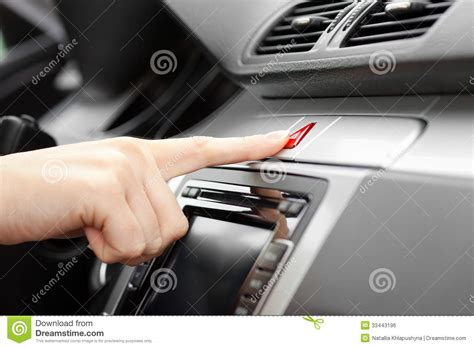 emergency lights for cars pressing car emergency lights button royalty free