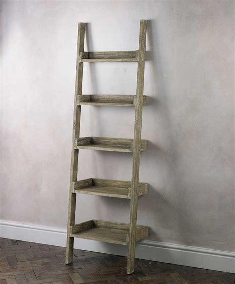 rustic wooden ladder shelving  cream wall paint