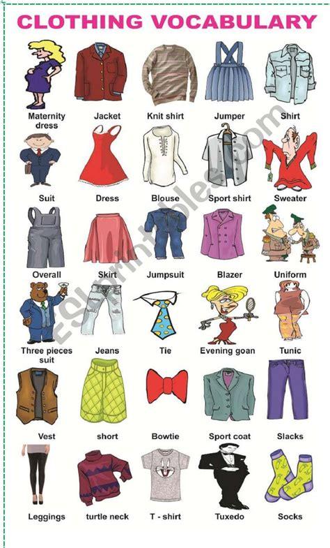 Clothing Vocabulary  Esl Worksheet By Mafaldita2009