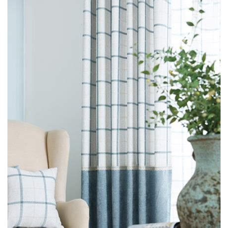 Note Bedroom Curtains by Blue Plaid Jacquard Chenille Thermal Contemporary Custom