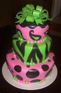 Green and Pink Zebra Cake