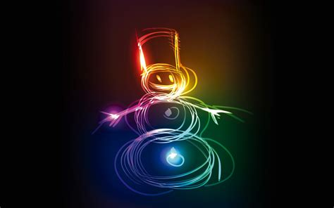 neon snowman creative hd creative  wallpapers images