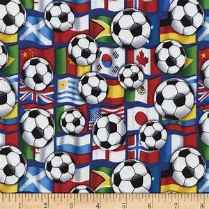 Timeless Treasures Soccer Balls on Flags Multi - Discount