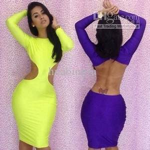 3 Sizes Long Sleeve Bandage Dress Neon Clubwear Dresses