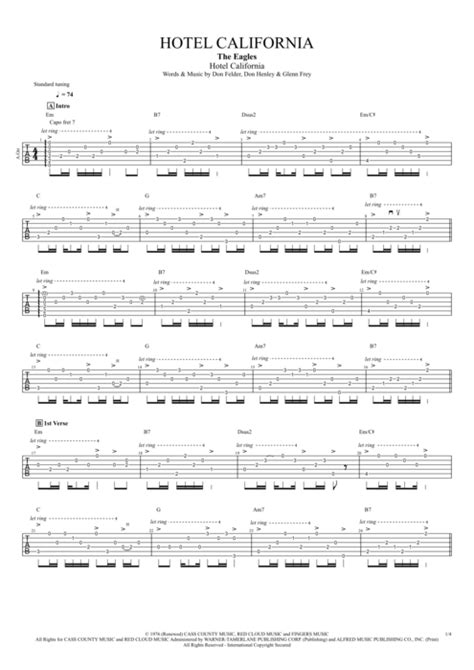 Hotel California By The Eagles  Full Score Guitar Pro Tab Mysongbookcom