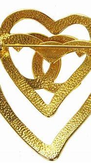 Chanel [excellent Condition] Cc Logos Heart Motif Brooch ...