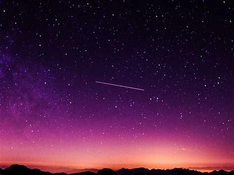 ne star galaxy night sky mountain purple red nature