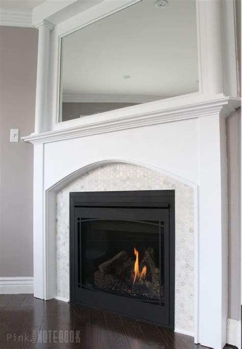 beautiful tiled fireplace  mantel update