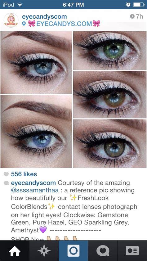 color contacts fresh  color blends gemstone green pure hazel geo sparkling grey amethyst