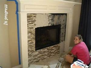 Glass Tile Fireplaceanything To Cover Our Ugly White