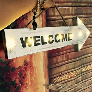 Welcome, Hanging, Wooden, Led, Sign, Plate, Decorative, Door, Plates, With, 6, Leds, Welcome, Sign, In, Home