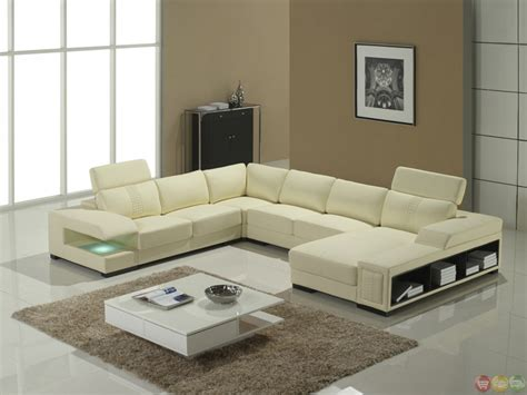 Contemporary Italian Leather Sectional Sofas by Italian Leather Modern Sectional Sofa With Shelves