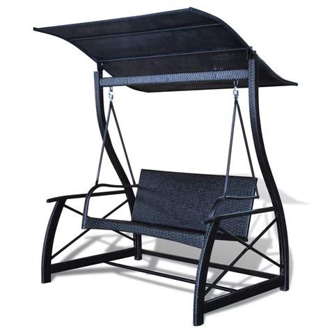 vidaxlnl schommelbank voor buiten met zwart rotan dak