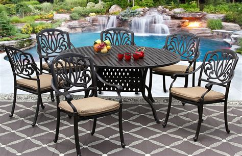 60 inch round outdoor dining table elisabeth cast aluminum outdoor patio 7pc set 60 inch