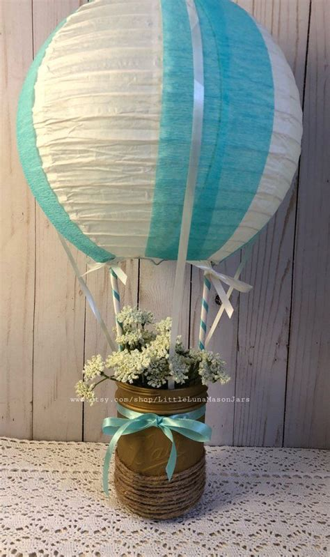 Teal And White Hot Air Balloon Themed Birthday Party