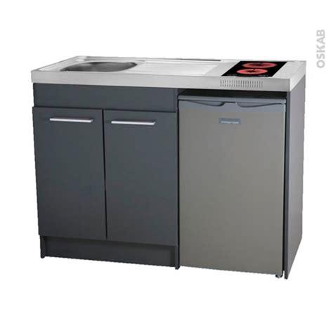 bloc cuisine evier frigo plaque kitchenette vitrocéramique meuble sous évier gris avec