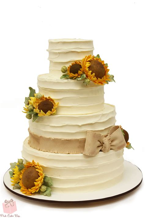 Rustic Buttercream Sunflower Wedding Cake Wedding Cakes