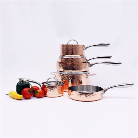 copper tri ply cookware  piece set hammered berghoff touch  modern