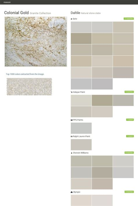 colonial gold granite collection natural stone slabs daltile behr valspar paint ppg