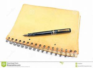 Vintage Fountain Pen On Old Spiral Notebook Stock Image ...