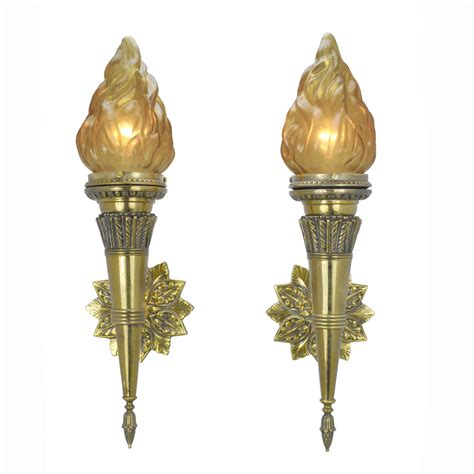 pair of antique torch sconces with shades ant 399