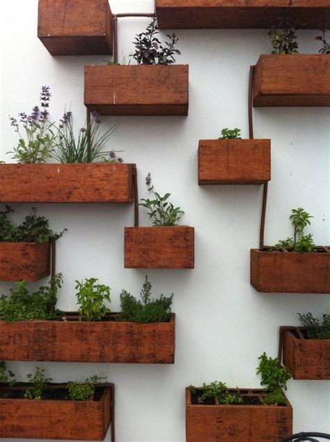Wall Mounted Wooden Boxes Living Wall Planter Ideas