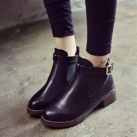New Women Ankle Black Boots Autumn Female Shoes Woman