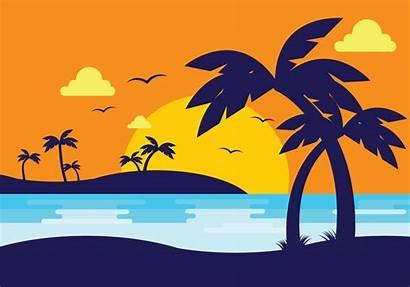 Palm Sunset Silhouette Beach Vector Tree Vectors