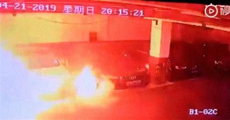tesla model  burst  flames   parking garage