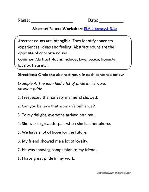 Abstract Nouns Worksheet 1 Elaliteracyl31c Language Worksheet  Education  Abstract Nouns