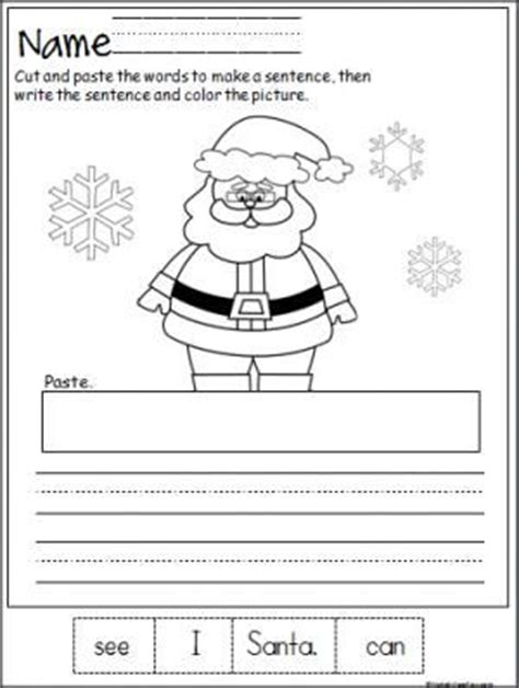 free santa cut paste and write the sentence printable page terrific winter activity for