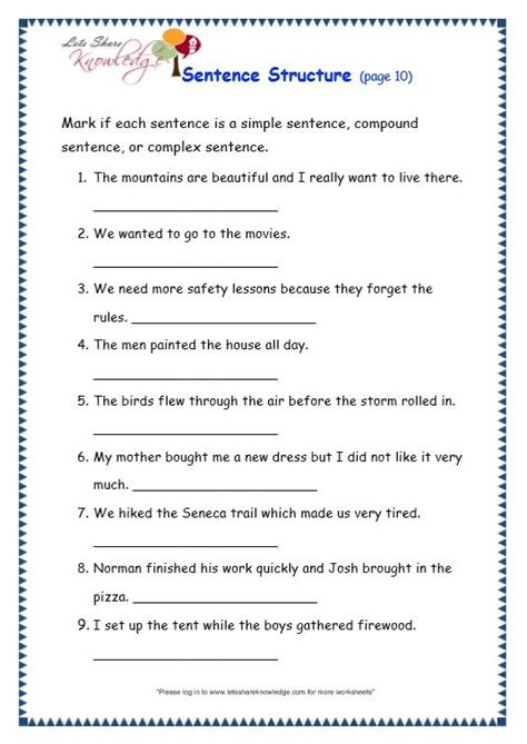grade 3 grammar topic 36 sentence structure worksheets