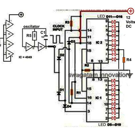 led light chaser circuit diagram 18 led light chaser circuit using two ic 4017